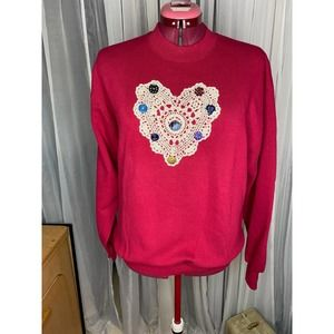 sweatshirt 1980's doily button country